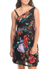 Women - Printed Sleeveless Faux Wrap Dress