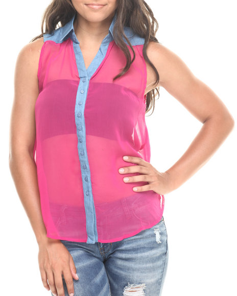 Fashion Lab - Women Pink Chambray Detail Sleeveless Collared Top