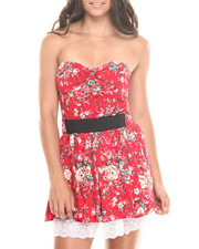 Women - Allover Floral Banded Waist Strapless Dress