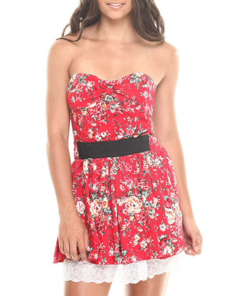 Fashion Lab - Allover Floral Banded Waist Strapless Dress