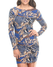 Women - Long Sleeve Printed Bodycon Dress