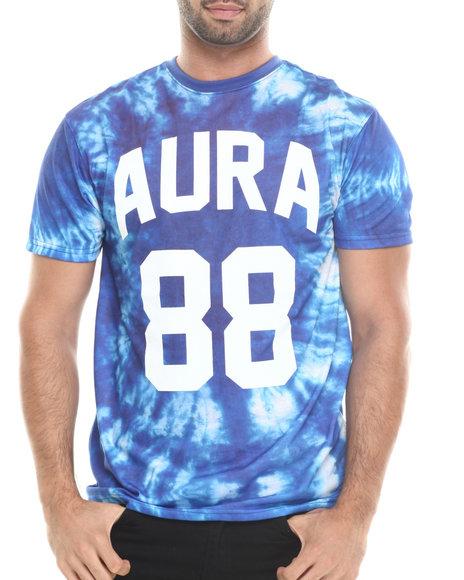 Aura Gold - Men Blue Light Weight Jersey Aura Gold 88 Tie Dye Tee - $18.99