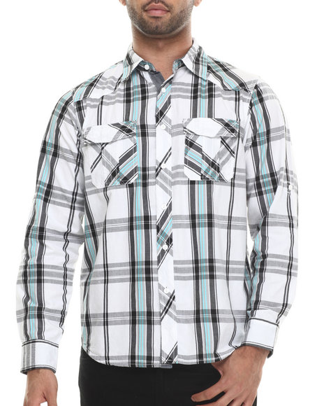 Buyers Picks - Men Black White & Bright L/S Button Down Shirt