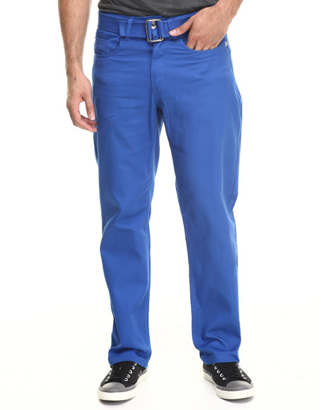 Basic Essentials - Men Blue Belted Colored Denim Jeans