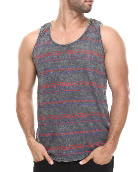 Buyers Picks - Men Black Tribal Stripe Washed Tank - $8.99