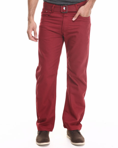 Basic Essentials - Men Red Belted Colored Denim Jeans