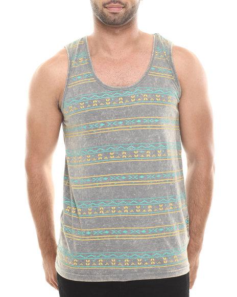 Buyers Picks - Men Grey Tribal Stripe Washed Tank - $12.99