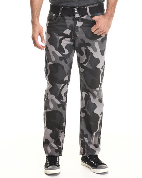 Basic Essentials - Men Camo Belted Colored Denim Jeans