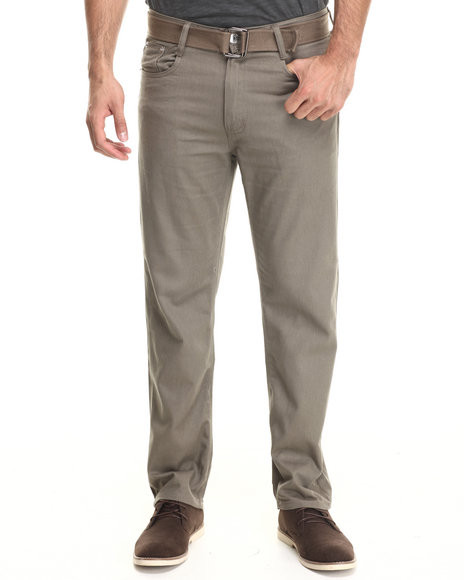 Basic Essentials - Men Olive Belted Colored Denim Jeans