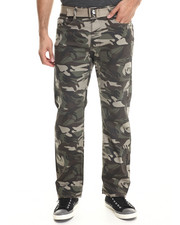 Basic Essentials - Belted Camo Colored Denim Jeans