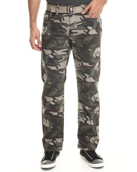 Basic Essentials - Men Camo Belted Camo Colored Denim Jeans