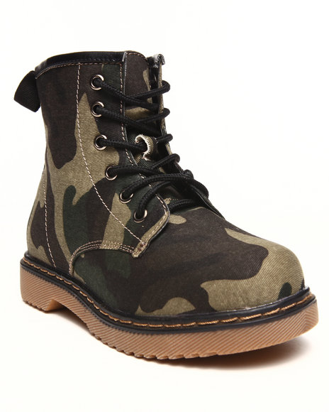 La Galleria - Girls Green Camo Army Boot