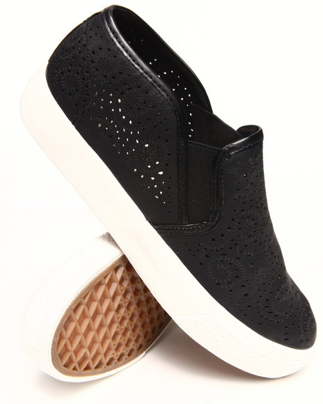 Fashion Lab - Women Black Alala Detailed Slip On Sneakers - $25.99