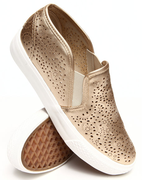 Fashion Lab - Women Gold Alala Detailed Slip On Sneakers