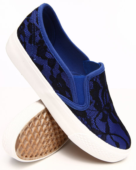 Fashion Lab - Women Blue Lacey Allover Large Lace Slip On Sneakers