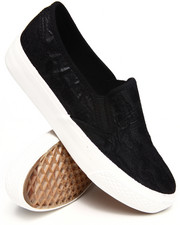 Fashion Lab - Lacey Allover Large Lace Slip On Sneakers