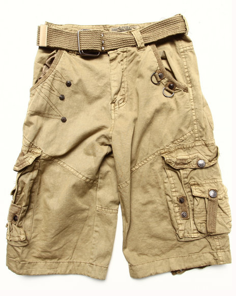 Arcade Styles - Boys Khaki Belted Cargo Shorts (8-20)