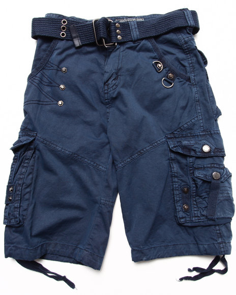 Arcade Styles Boys Navy Belted Cargo Shorts (4-7)