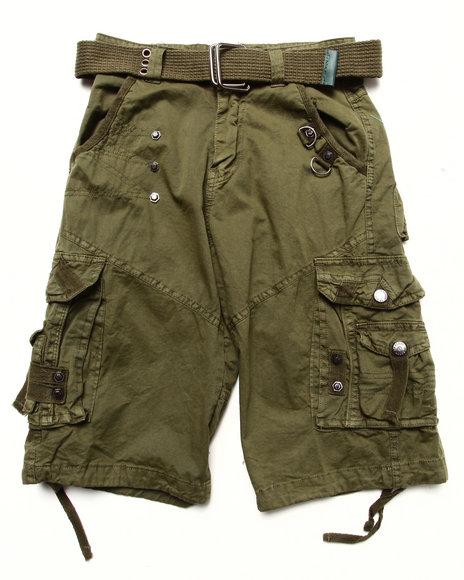 Arcade Styles - Boys Olive Belted Cargo Shorts (8-20)