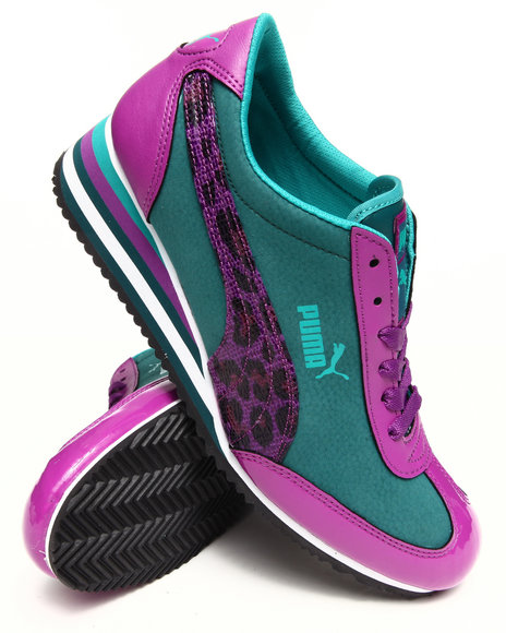 Puma Teal Caroline Stripe Wedge Sneakers