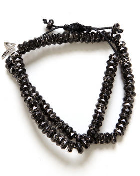 DJP OUTLET - Talon Double Wrap Beveled Metal Bead w/ Leather Knot Bracelet