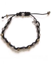 Accessories - Talon Woven Leather Bracelet w/ 2-Tone Tribal Bead