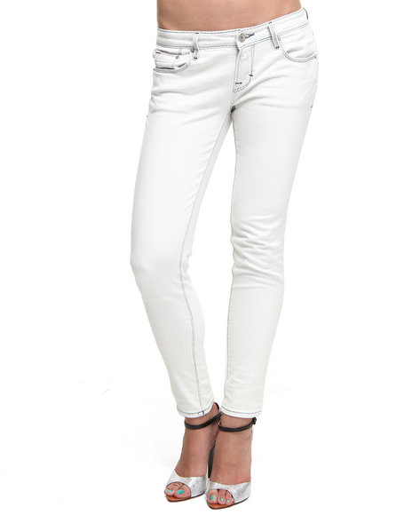 Djp Outlet - Women Light Wash Cult Of Individuality Bleach Railroad Teaser Skinny Crop Jeans