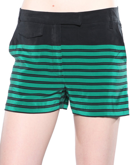Djp Outlet - Women Green Dolce Vita Edna Silk Stripe Shorts