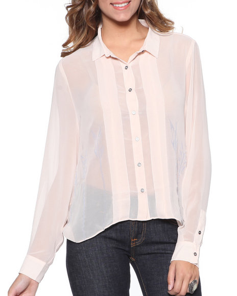 Djp Outlet Women Gentle Fawn Mixed Panel Return Blouse Pink Large