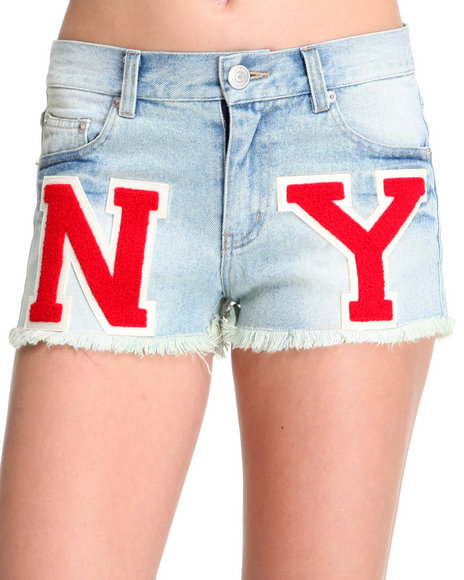 Djp Outlet - Women Indigo Joyrich Ny Varsity Letter Cut Off Denim Short