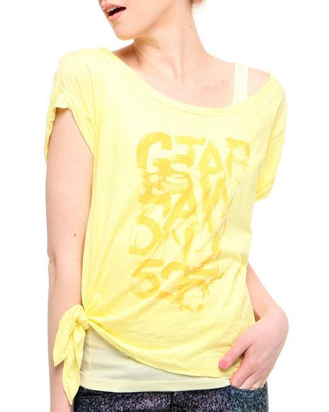 Djp Outlet - Women Yellow G-Star Legion Double Layer Side Tie Logo Tee - $26.99