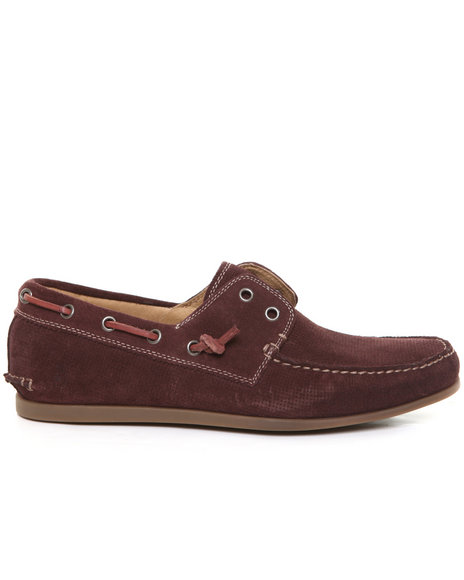 John Varvatos - Men Crimson Schooner Perf Calf Suede Laceless Boat Shoe
