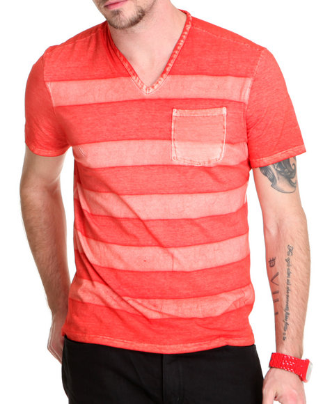 printed stripe v neck w / pckt