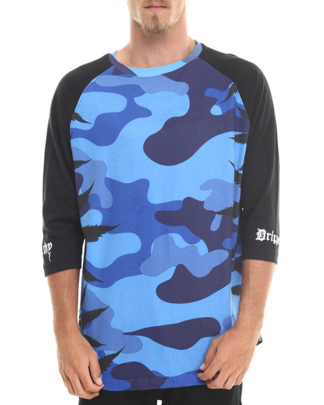 Filthy Dripped - Men Camo Camo Leaves Raglan - $26.99