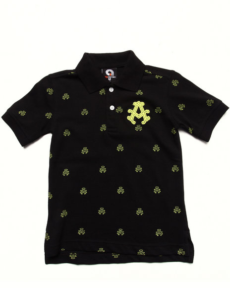 Akademiks - Boys Black All Over Print Polo (4-7) - $12.99