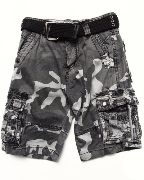 Arcade Styles - Boys Camo,Black Belted City Camo Cargo Shorts (4-7)