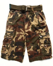Bottoms - BELTED WOODLAND CAMO CARGO SHORTS (8-20)