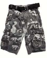 Boys - BELTED CITY CAMO CARGO SHORTS (8-20)