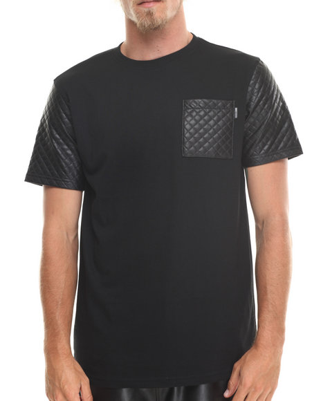 Mo7 - Men Black Quilted Diamond  Effect Faux Leather Trim Tee - $11.99