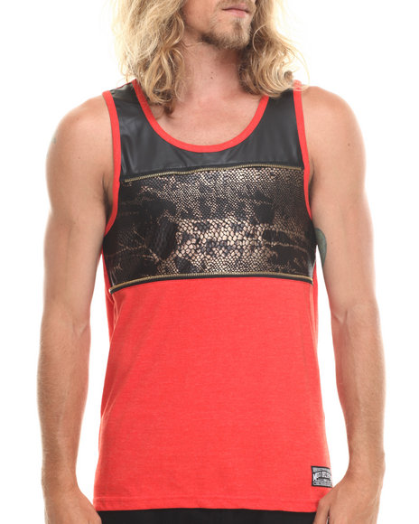 Mo7 - Men Red Faux Snakeskin/Faux Leather Front Zipper Trim Tank Top