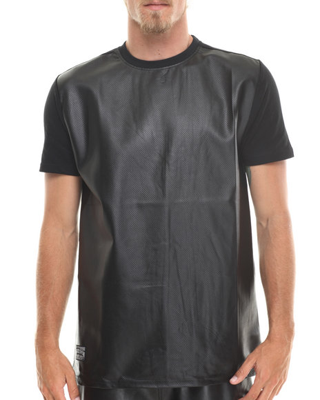 Mo7 - Men Black Quilted Effect Faux Leather Trim Tee - $12.99