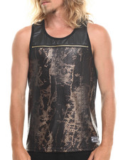MO7 - Faux Snakeskin Front Zipper trim tank top
