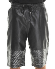 MO7 - Faux Leather Metallic Star Trim Shorts