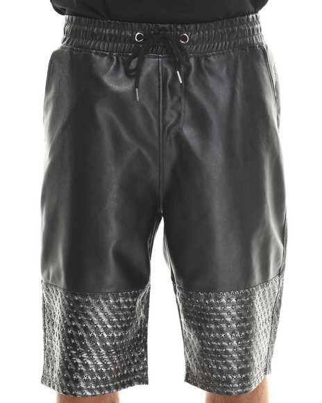 MO7 Black Faux Leather Metallic Star Trim Shorts