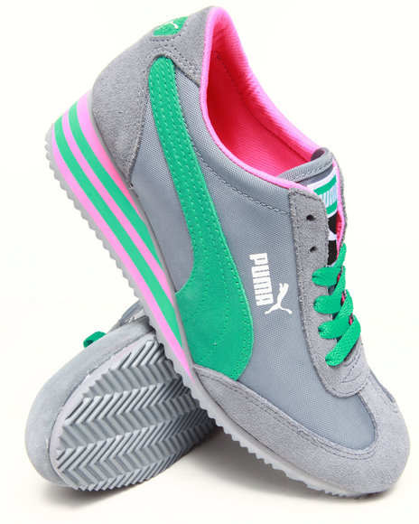 Puma Grey Caroline Stripe Wedge Sneakers
