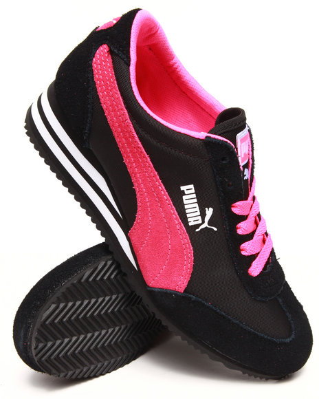 Puma Black Caroline Stripe Wedge Sneakers