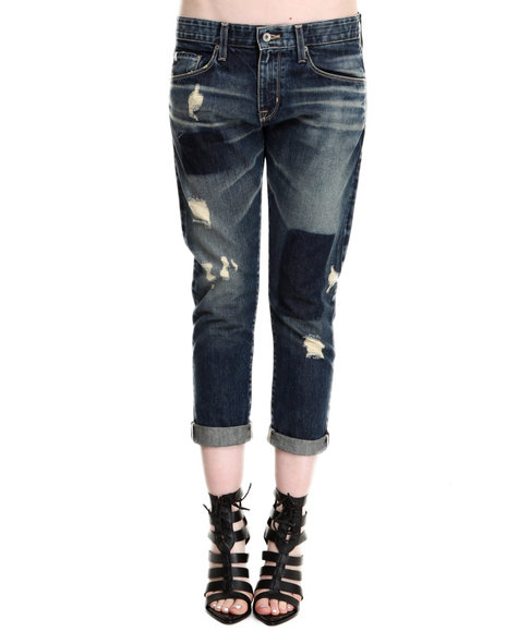 Big Star - Women Medium Wash Joey Crop Jean W/ Patches - $77.99