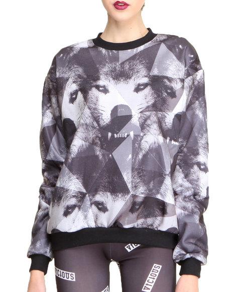 Civil - Women Black Geo Wolf Crewneck Sweatshirt