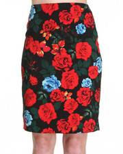 Women - Classic Rose Print Pencil Skirt