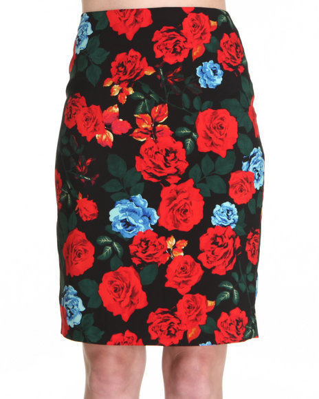 Djp Outlet - Women Black Classic Rose Print Pencil Skirt